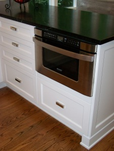 Microwave drawer below countertop
